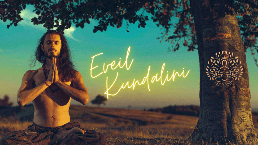 éveil kundalini et éveil spirituel d'un homme en train de méditer. guide kundalini